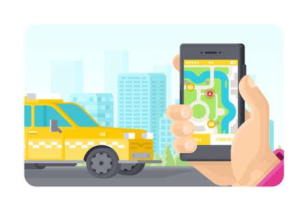 Online-Taxi bestellen Telefonanwendungskonzept im flachen Stil