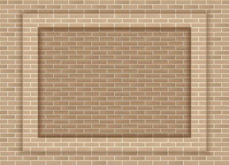 Vector sandstone brick wall frame or background Illusztráció