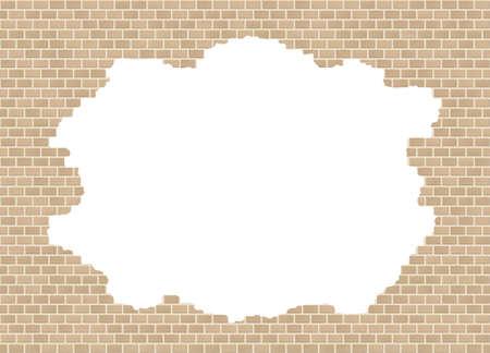 Sandstone broken brick wall backdrop with big hole