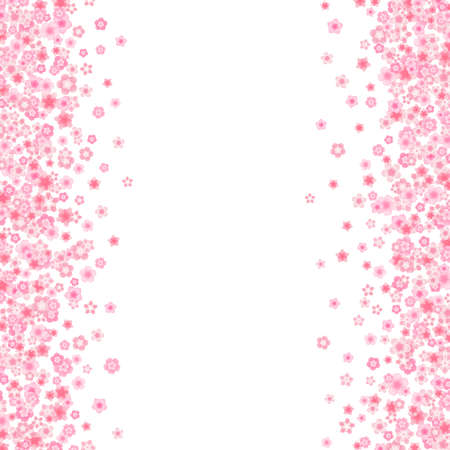 Blossom greeting card background with pink cherry or sakura flowers in flat style vector.