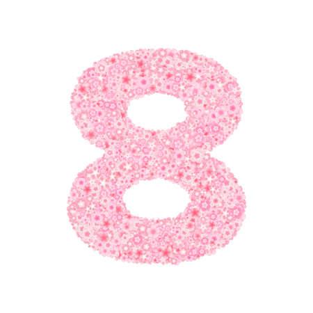 Cherry or sakura blossoms font, numeral 8 vector.