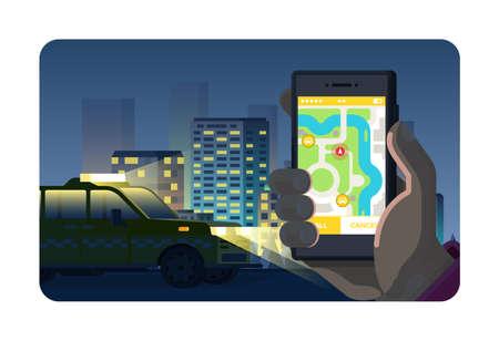 Telefonanwendungskonzept der on-line-Nachttaxi-Bestellung in der flachen Art. Vektorgrafik