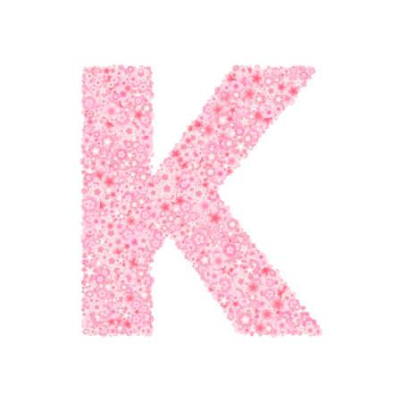 Vector cherry or sakura blossoms font, letter K illustration. Ilustração
