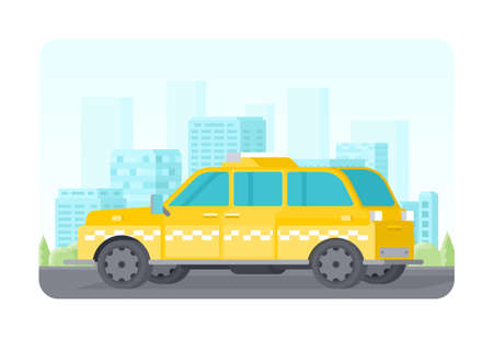 Vector yellow taxi car parked in the city flat style.