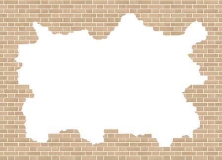 Vector sandstone broken brick wall background with big hole.