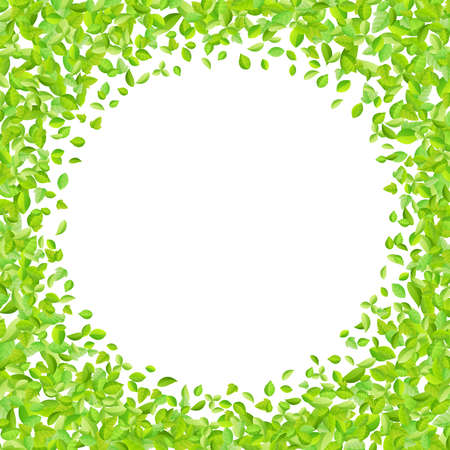 Vector fresh spring green leaves background for greeting card in flat style. Иллюстрация
