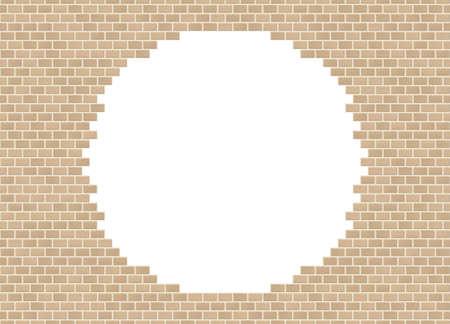 Vector sandstone broken brick wall background with big hole