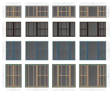 Vector single hung offset style composite window set in different sizes and colors. Illustration