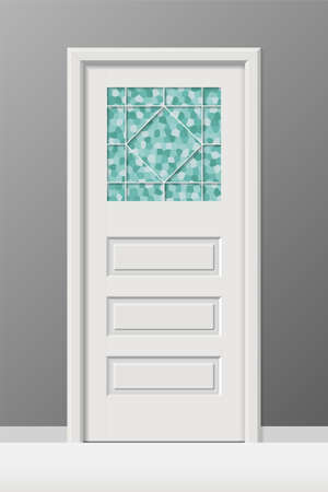 Vector interior door with stained leaded art glass window. Ilustrace