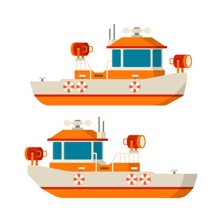 Vector sea lifeboat or guardian boat in flat style.