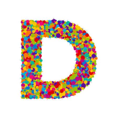 Vector colorful paint splashes font, letter D illustration.