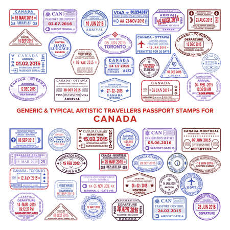 Custom vector typical artistic passport arrival and departure stamps variations set for Canada