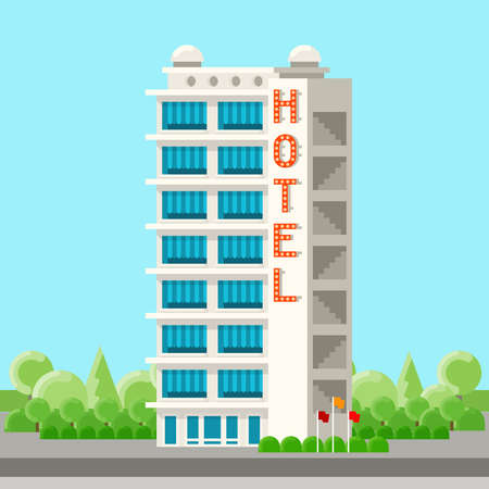 Vector hotel building in flat style