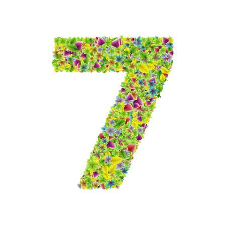 Vector colorful botanical garden fresh leaves font, numeral 7