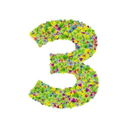 Vector colorful botanical garden fresh leaves font, numeral 3
