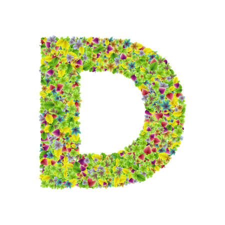 Vector colorful botanical garden fresh leaves font, letter D Stock Illustratie