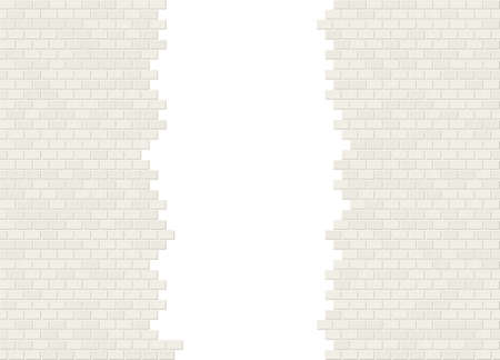 Vector torn in half white brick wall background with big hole