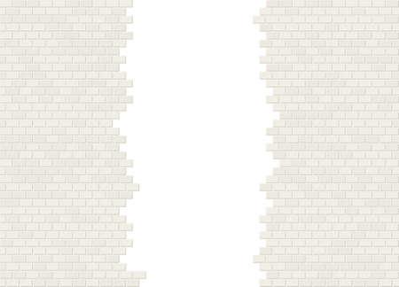 Vector gescheurd in halve witte bakstenen muur achtergrond met groot gat