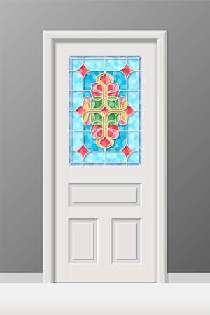 Vector interior door with stained leaded art glass window