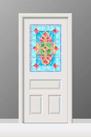 Vector interior door with stained leaded art glass window