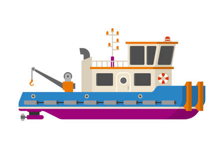 Vector sea or river towboat pusher ship in flat style Illustration