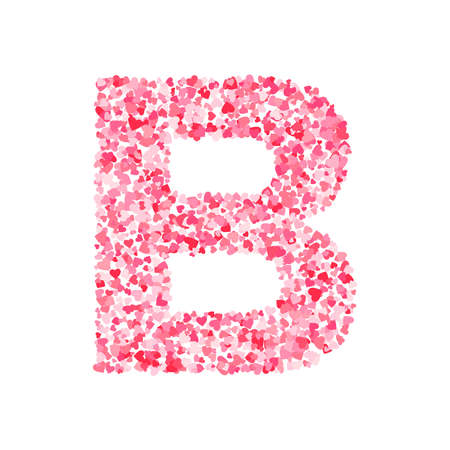 Vector pink & red Valentines Day heartshapes font, letter B