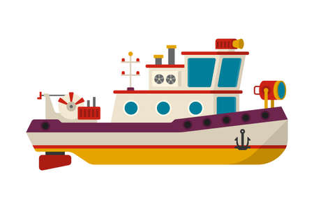 Vector sea or river towboat pusher ship in flat style  イラスト・ベクター素材
