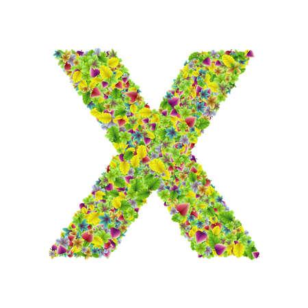 Vector colorful botanical garden fresh leaves font, letter X