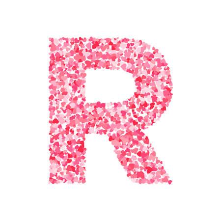 Vector pink & red Valentines Day heartshapes font, letter R Vektorové ilustrace