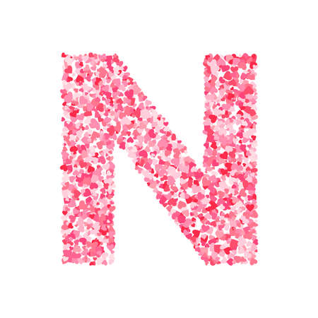 Vector roze & rood Valentijnsdag heartshapes lettertype, letter N.