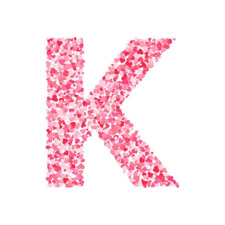 Vector pink & red Valentines Day heartshapes font, letter K