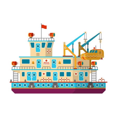 Vector floating mobile rescue station in flat style Illustration