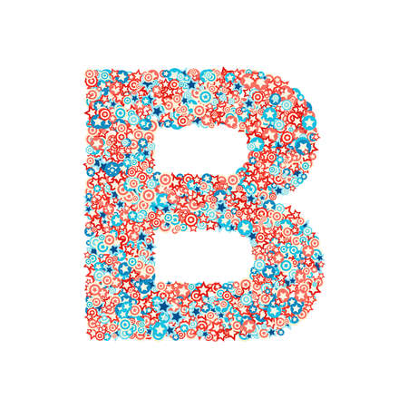 Vector USA national holiday and celebration font, letter B