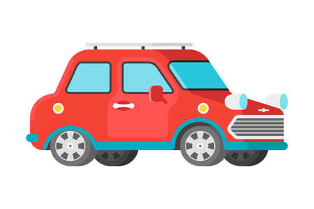 Vector passenger small car in flat style Illustration