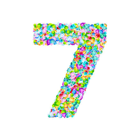 Vector colorful gem stones font, numeral 7