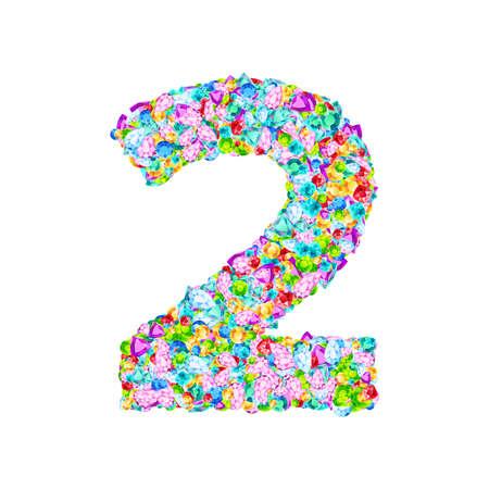 Vector colorful gem stones font, numeral 2 Illustration