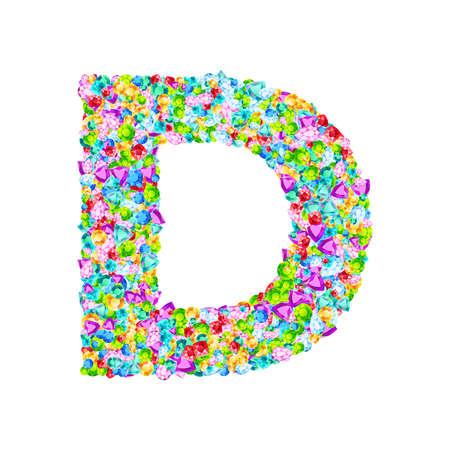 Vector colorful gem stones font, letter D