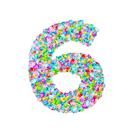 Vector colorful gem stones font, numeral 6