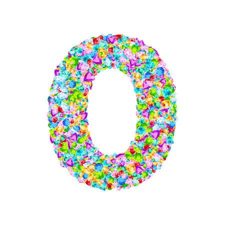 Vector colorful gem stones font, numeral 0 Ilustração