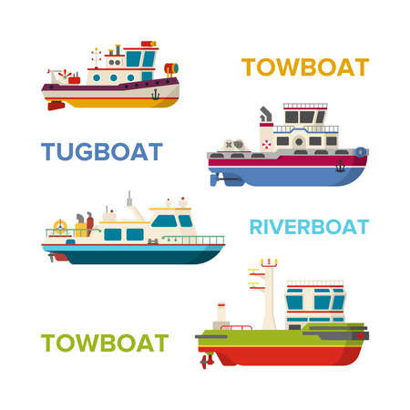 Vector sea or river boats set in flat style
