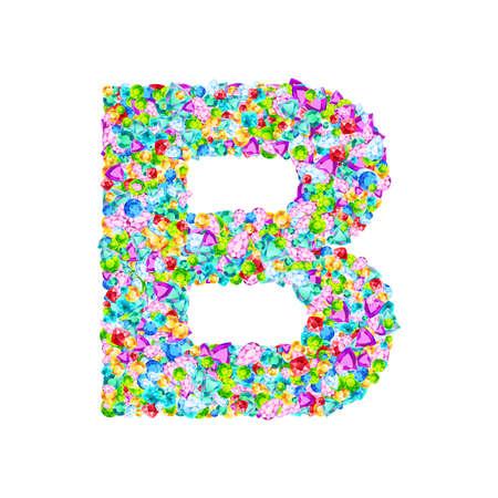 Vector colorful gem stones font, letter B Ilustração