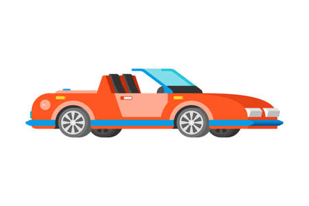 Vector passenger sport car cabriolet coupe in flat style
