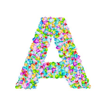 Vector colorful gem stones font, letter A