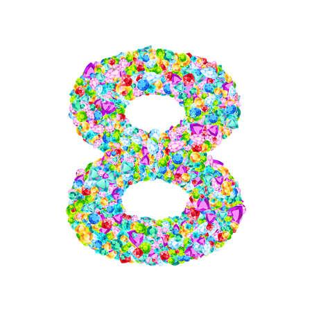Vector colorful gem stones font, numeral 8 Illustration