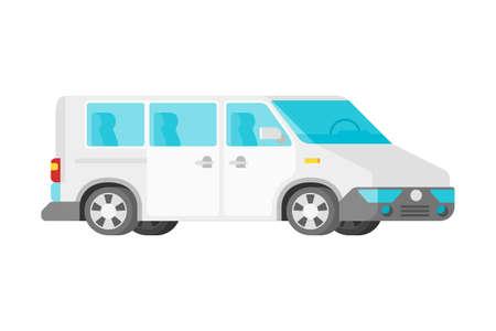 Mini furgoneta de pasajeros de vector en estilo plano