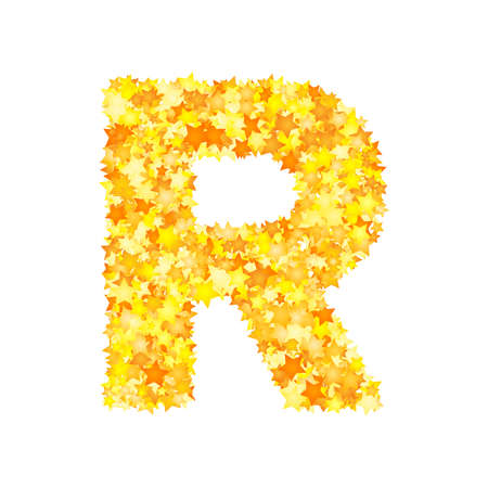 Vector yellow stars font, letter R