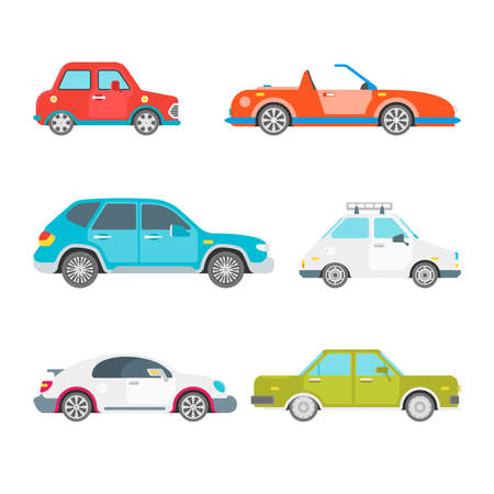 Vector passenger cars set in flat style
