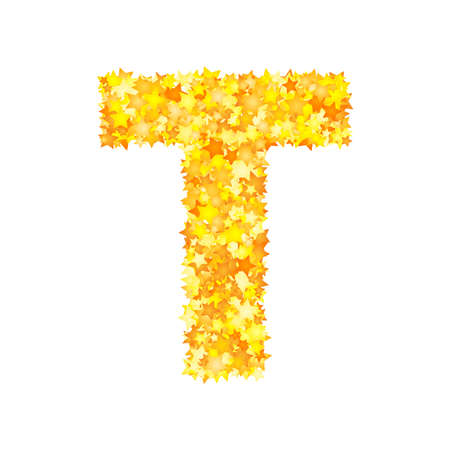 Vector yellow stars font, letter T Ilustração
