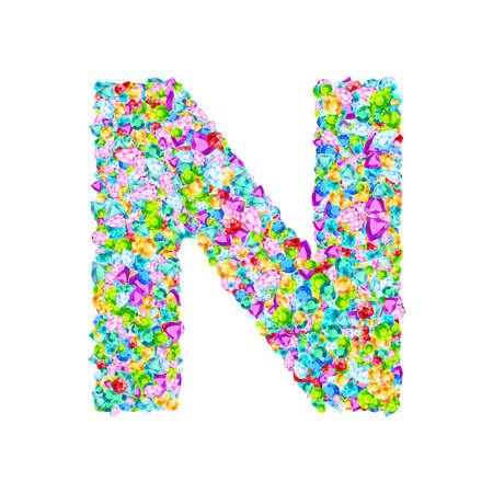 Vector colorful gem stones font, letter N