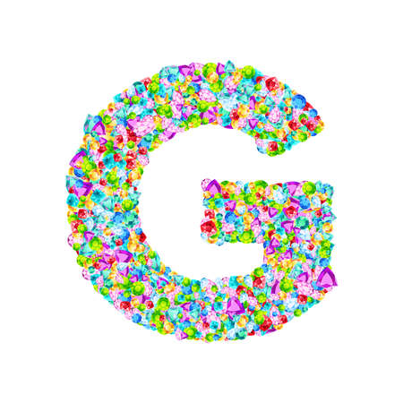 Vector colorful gem stones font, letter G 矢量图像